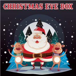Christmas Eve Box Labels - Santa And Reindeer - Vinyl Label 150mm x 150mm